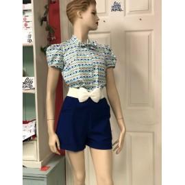 Short Stacy bleu royal