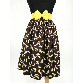 """Kate"" gathered skirt in ""Bananas"" print"
