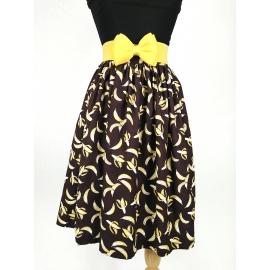 """Kate"" gathered skirt in ""Bananas"" print"
