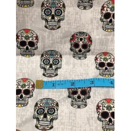 TETE DE MORT GRIS   100% Coton