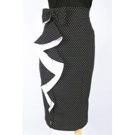 """Fany"" ruffle pencil skirt in black"