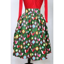 """Kate"" gathered skirt in ""Vintage Christmas"" print"
