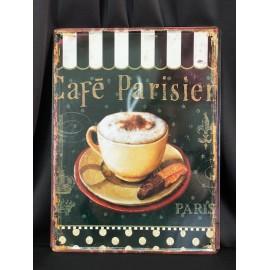 AFFICHE EN MÉTAL café parisien